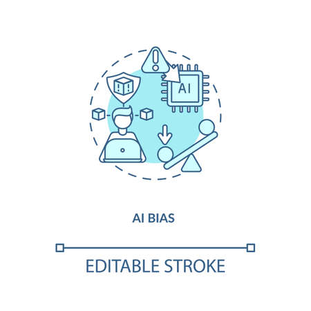 AI bias concept icon. Human mistake while codding smart computer. Future device issues. AI threats idea thin line illustration. Vector isolated outline RGB color drawing. Editable stroke