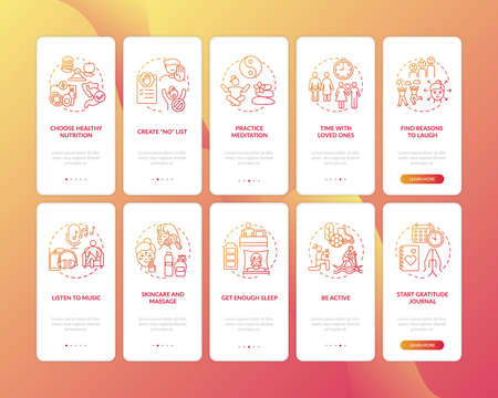 Self care onboarding mobile app page screen with concepts set. Calming music. Practice healthy meditation walkthrough 10 steps graphic instructions. UI vector template with RGB color illustrations