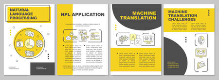 NLP brochure template. Natural language processing. Flyer, booklet, leaflet print, cover design with linear icons. Vector layouts for magazines, annual reports, advertising posters