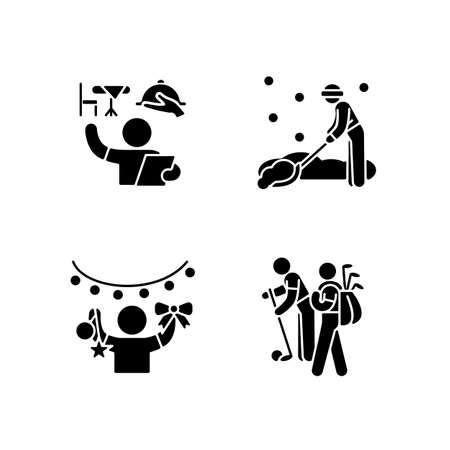 Easy jobs for 16-year-olds black glyph icons set on white space. Restaurant host and hostess. Snow removal job. Holiday decorator. Golf caddy. Silhouette symbols. Vector isolated illustration