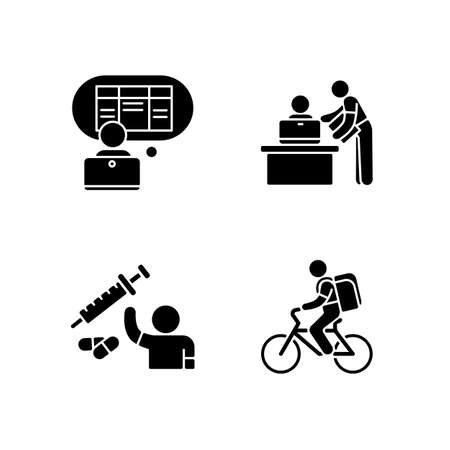 Part-time jobs black glyph icons set on white space. Data entry clerk. Personal assistant. Clinical trial volunteer. Food delivery person. Silhouette symbols. Vector isolated illustration