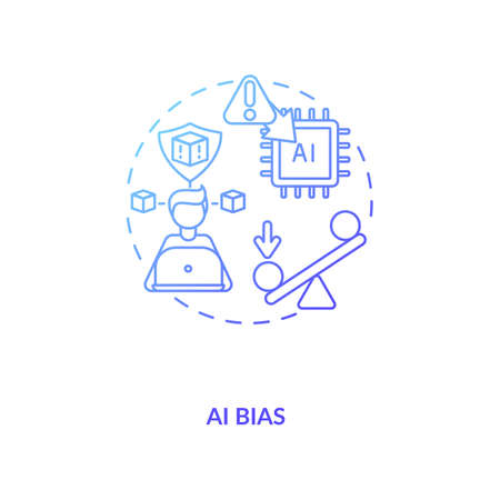 AI bias concept icon. Human mistake while codding smart computer systems. Future devices problems. AI threats idea thin line illustration. Vector isolated outline RGB color drawing