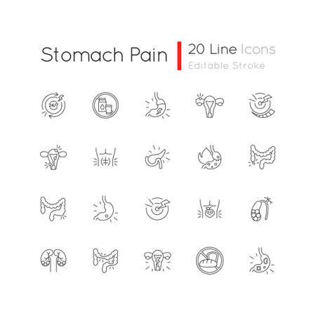 Stomach pain linear icons set. Digestive disorders. Indigestion. Chronic abdominal pain. Pancreatitis. Customizable thin line contour symbols. Isolated vector outline illustrations. Editable stroke