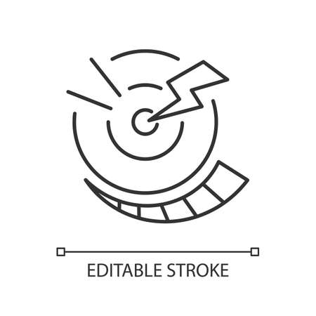 Progressive pain linear icon. Digestive system. Abdominal inflammation. Stomach cramps. Thin line customizable illustration. Contour symbol. Vector isolated outline drawing. Editable stroke