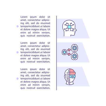 Artificial intelligence explosion concept icon with text. Robot circuit. Neural network PPT page vector template. Brochure, magazine, booklet design element with linear illustrations