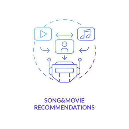 Song and movie recommendations concept icon. Future smart search engine. Happy hobby time spending. AI application idea thin line illustration. Vector isolated outline RGB color drawing
