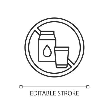 Lactose intolerance linear icon. Digestive disorder. Dairy products. Enzyme lactase. Milk, yogurt. Thin line customizable illustration. Contour symbol. Vector isolated outline drawing. Editable stroke