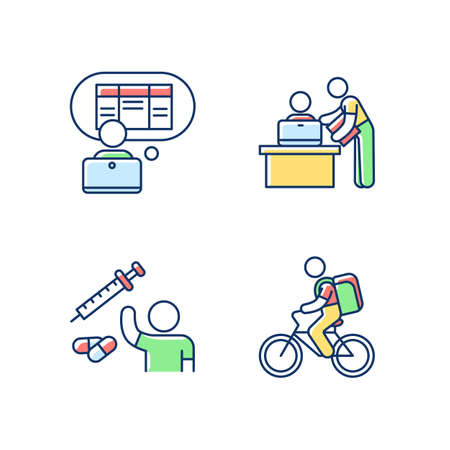 Part-time jobs RGB color icons set. Data entry clerk. Personal assistant. Clinical trial volunteer. Food delivery person. Clerical tasks. Personal secretary. Isolated vector illustrations Stock Illustratie