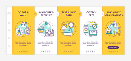 Me time ideas onboarding vector template. Go for outdoor walk. Manicure and pedicure salon. Responsive mobile website with icons. Webpage walkthrough step screens. RGB color concept Vetores
