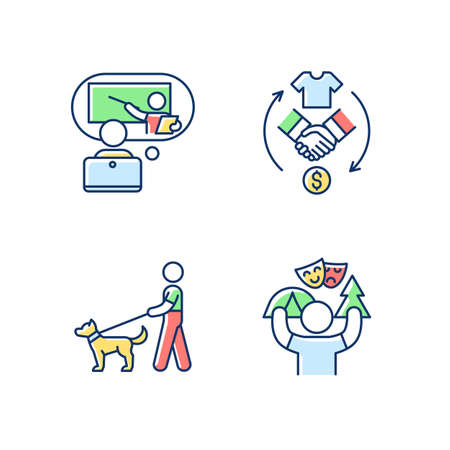 Job opportunities RGB color icons set. Online tutor. Reseller. Dog walker. Camp counselor. E-learning platform. Summer job. Products resolding. Professional pet care. Isolated vector illustrations Stock Illustratie