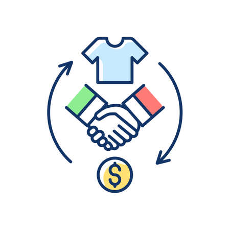Reseller RGB color icon. Merchant. Products resolding. Purchasing goods from manufacturer. Making profit. Resell products. Business building. Online shop. Earning money. Isolated vector illustration