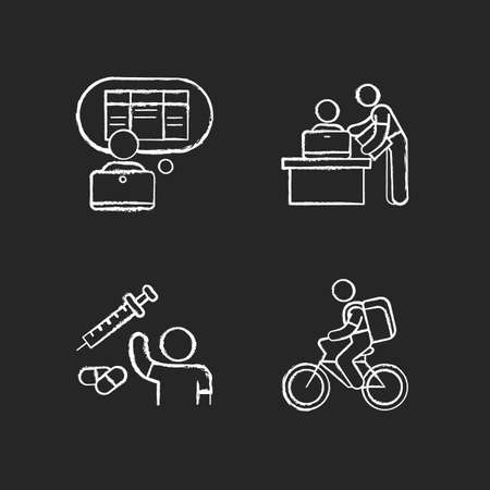 Part-time jobs chalk white icons set on black background. Data entry clerk. Personal assistant. Clinical trial volunteer. Food delivery person. Clerical tasks. Isolated vector chalkboard illustrations