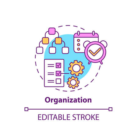 Organization concept icon. Creative thinking types. Mananging team working process. Teamwork creation idea thin line illustration. Vector isolated outline RGB color drawing. Editable stroke