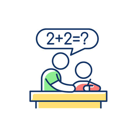 Tutor RGB color icon. Private teacher. Homework help. Students teaching. Instructing kids. Test prep. Developing study skills. Educational performance improvement. Isolated vector illustration