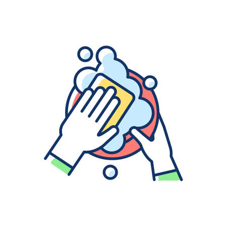 Dishwasher RGB color icon. Ensuring cleanliness and sanitization. Washing dishes and appliances. Kitchen tasks. Job in restaurant. Cleaning kitchen and dining areas. Isolated vector illustration
