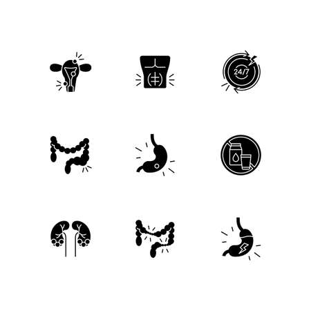 Abdominal pain black glyph icons set on white space. Endometriosis. Abdominal muscle strain. Constipation. Gastritis. Long-term inflammation. Silhouette symbols. Vector isolated illustration Vector Illustration