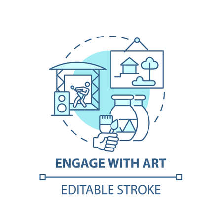 Engage with art concept icon. Boosting creative thinking tips. Understanding visual information through painting idea thin line illustration. Vector isolated outline RGB color drawing. Editable stroke