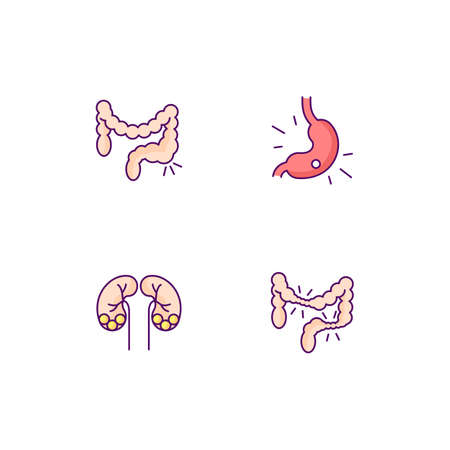 Abdominal pain RGB color icons set. Constipation. Gastritis. Kidney stones. Irritable bowel syndrome. Urolithiasis. Stomach ulcer. Bowel movements. Hemorrhoids. Isolated vector illustrations