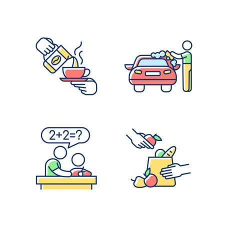 Teen jobs RGB color icons set. Barista. Car washer. Tutor. Grocery bagger. Coffeehouse employee. Applying soap solution. Private teacher. Homework help. Isolated vector illustrations