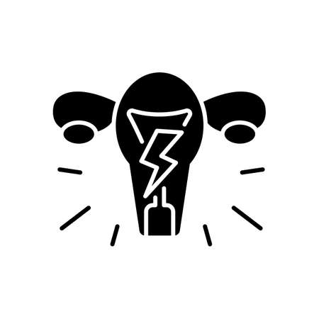 Menstrual cramps black glyph icon. Dysmenorrhea. Throbbing, aching pain. Lower belly. Dull, continuous ache. Menstruation symptom. Silhouette symbol on white space. Vector isolated illustration