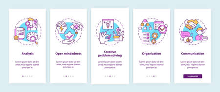 Creative thinking types onboarding mobile app page screen with concepts. Open minded people walkthrough 5 steps graphic instructions. UI vector template with RGB color illustrations