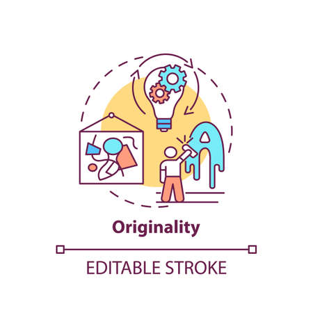 Originality concept icon. Creative thinking skills. Not copied things from others. Unique creations idea thin line illustration. Vector isolated outline RGB color drawing. Editable stroke