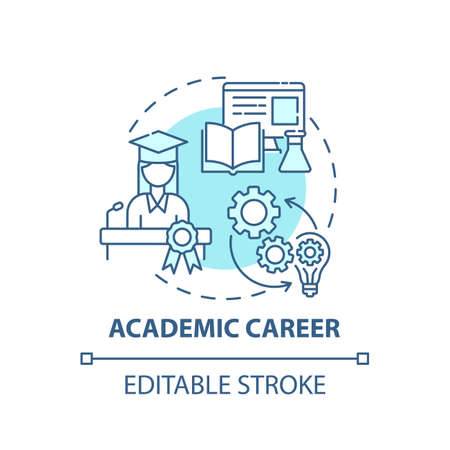 Academic career concept icon. Top careers for creative thinkers. Getting interesting work place. Future working idea thin line illustration. Vector isolated outline RGB color drawing. Editable stroke