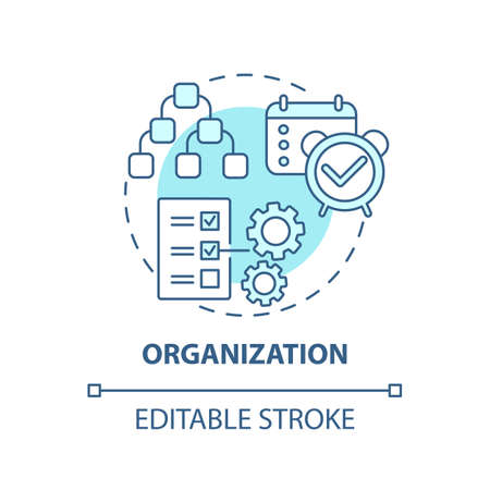 Organization concept icon. Creative thinking types. Mananging team working process. Work leadership idea thin line illustration. Vector isolated outline RGB color drawing. Editable stroke