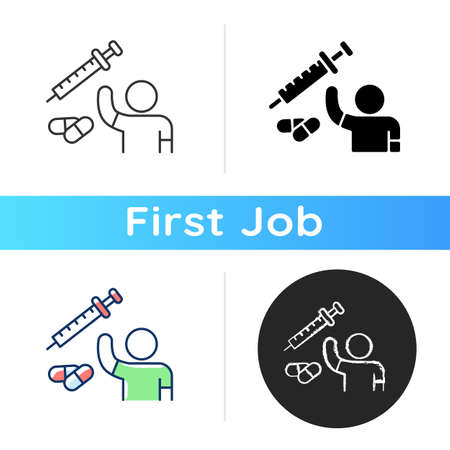 Clinical trial volunteer icon. Investigational treatment. Study drug. Research process. Focusing on drug safety. Volunteering. Linear black and RGB color styles. Isolated vector illustrations