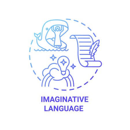 Imaginative language concept icon. Creative writing elements. Exciting description that appeals. Metaphors from author idea thin line illustration. Vector isolated outline RGB color drawing