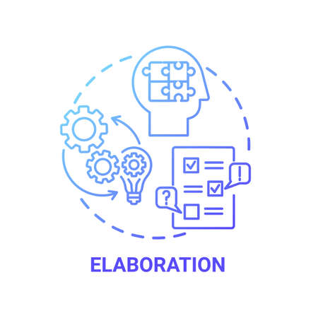 Elaboration concept icon. Creative thinking skills. Interesting things options creation. Brain working process idea thin line illustration. Vector isolated outline RGB color drawing