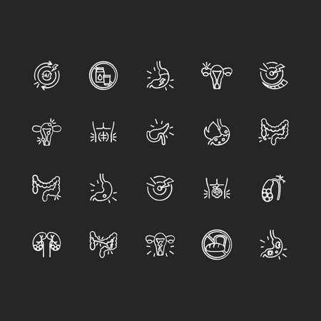 Stomach pain chalk white icons set on black background. Digestive disorders. Indigestion. Chronic abdominal pain. Pancreatitis. Heartburn treatment. Isolated vector chalkboard illustrations