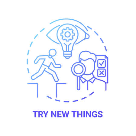 Try new things concept icon. Boosting creative thinking tips. Need to get familiar to newly interesting things idea thin line illustration. Vector isolated outline RGB color drawing Illusztráció