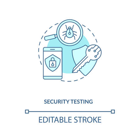 Security testing concept icon. App testing components. Checking project for hacking viruses and dangerous code idea thin line illustration. Vector isolated outline RGB color drawing. Editable stroke