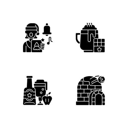 Christmas holiday black glyph icons set on white space. Singing carols. Hot chocolate. Apple cider. Ice igloo. Winter season. Festive treats. Silhouette symbols. Vector isolated illustration Vectores