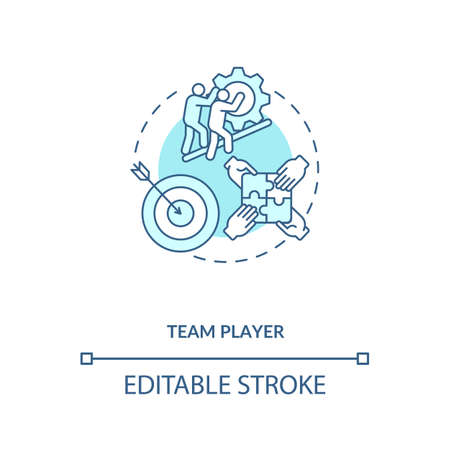 Team player concept icon. App developer skills. Easy getting with new teammates. Connection with crew members idea thin line illustration. Vector isolated outline RGB color drawing. Editable stroke