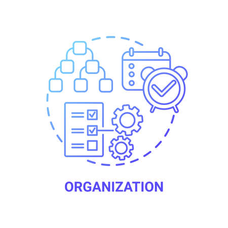 Organization concept icon. Creative thinking variety. Controlling team working processes. Strong work leadership idea thin line illustration. Vector isolated outline RGB color drawing