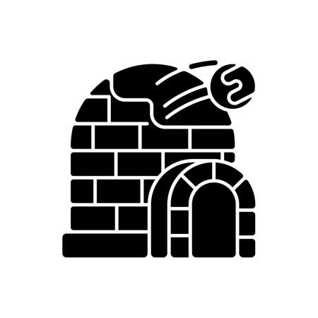 Snow fort black glyph icon. Ice construction. Arctic igloo, icehouse. Winter season building. Frozen fortress. Christmastide shelter. Silhouette symbol on white space. Vector isolated illustration Иллюстрация