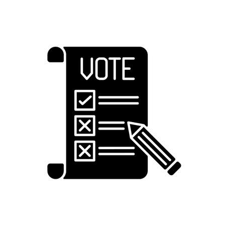 Voting ballot black glyph icon. Collective decision. Participation in democratic process. General election. Making voice heard. Silhouette symbol on white space. Vector isolated illustration