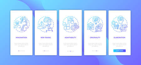 Creative thinking skills onboarding mobile app page screen with concepts. Person originality walkthrough 5 steps graphic instructions. UI vector template with RGB color illustrations
