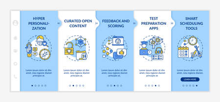 AI in education onboarding vector template. Hyper human unique personalization. Curated open source content. Responsive mobile website with icons. Webpage walkthrough step screens. RGB color concept Vektorové ilustrace