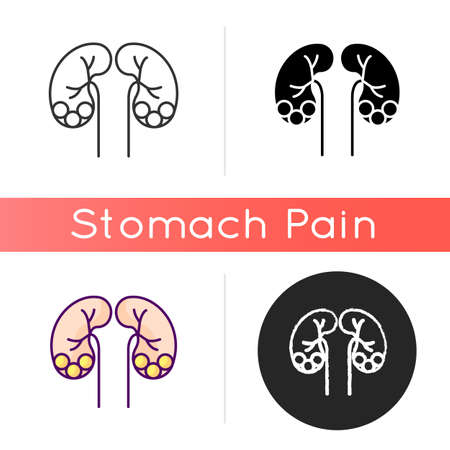 Kidney stone disease icon. Dissolved minerals and salts. Urolithiasis. Blocked ureter. Waste products in blood. Kidney infection. Linear black and RGB color styles. Isolated vector illustrations Vector Illustration