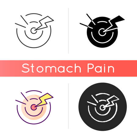 Acute pain icon. Sudden and severe feeling in abdomen. Stomach infection. Digestive disorders. Gastroenteritis. Menstrual cramps. Linear black and RGB color styles. Isolated vector illustrations