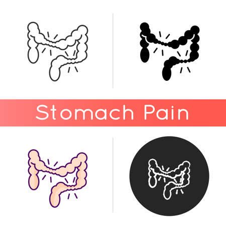 Irritable bowel syndrome icon. Large intestine. Cramping. Abdominal pain. IBS. Chronic condition. Digestive system. Belly discomfort. Linear black and RGB color styles. Isolated vector illustrations