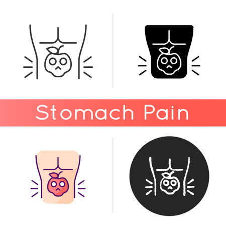 Food poisoning icon. Foodborne illness. Stomachache sickness. Cramping. Eating contaminated food. Chronic digestive problems. Linear black and RGB color styles. Isolated vector illustrations
