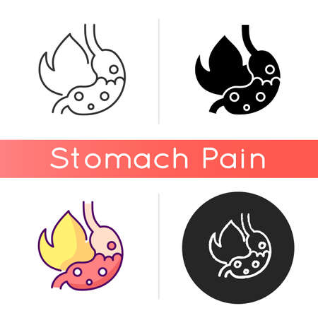 Heartburn icon. Acid reflux. Gnawing pain. Discomfort. Indigestion. Uncomfortable sensation in belly. Burning in chest center. Linear black and RGB color styles. Isolated vector illustrations