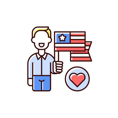 Patriotism RGB color icon. American flag appearance. Pride and unity symbol. Uncle Sam. Star-spangled banner. Official national anthem. Attachment to homeland. Isolated vector illustration