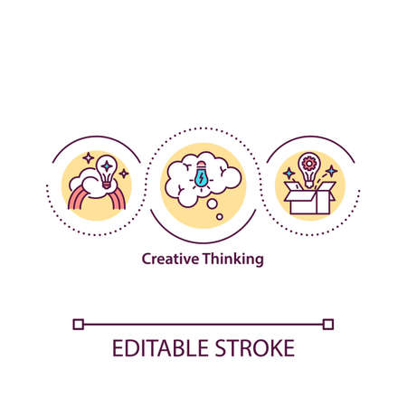 Creative thinking concept icon. Brainstorming. Self-improvement. Lateral thinking idea thin line illustration. Vector isolated outline RGB color drawing. Editable stroke.