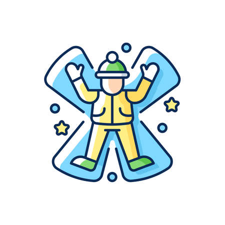 Snow angel RGB color icon. Winter fun. Seasonal entertainment for children. Christmas celebration. Kids play on festive holiday. Outstreched person in coat and hat. Isolated vector illustration