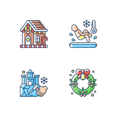 Winter season traditions RGB color icons set. Gingerbread house. Polar bear plunge. Ice sculpture. Christmas wreath. Festive decorative ornament. New Year celebration. Isolated vector illustrations